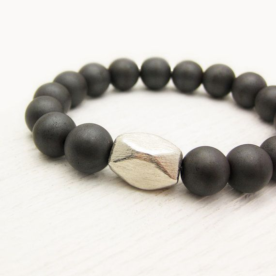 Men's Bead Gemstone Bracelet / Matte Hematite w/ Solid Sterling Silver / unisex tough metallic rust colored neutral cylinder geometric roun