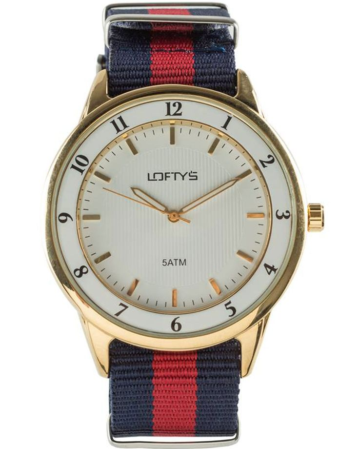 Watch with Two Tone Fabric Strap (Blue - Red)  Y 3404BR - https://www.loftyswatches.com/shop/watch-fabric-strap-blue-red-y-3404br/