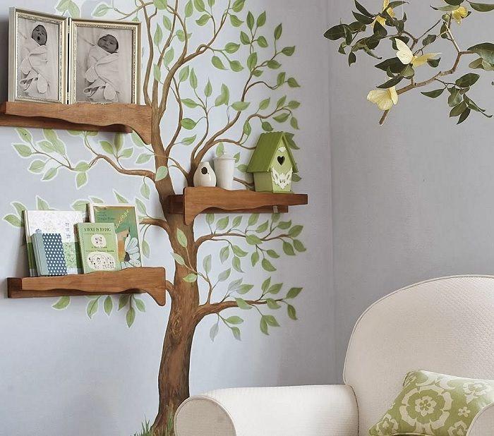 Дерево на стене: интересные идеи для украшения интерьера комнаты.