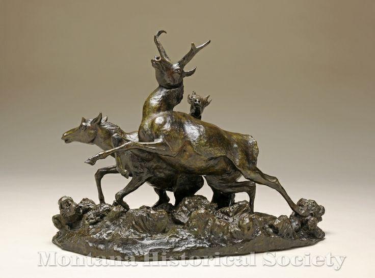 2000.15.82, Pronghorns in Action (front), Bob Scriver, Bronze, 1955