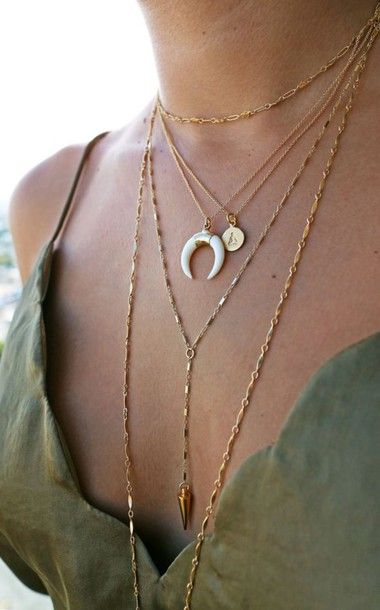 $5 - $50 Gold Chain Layered Choker Necklace Ivory Half Moon Crescent Pendant Gold Necklace Gold Coin Pendant Necklace Stacked Gold Jewellery Jewels Accessory Tumblr