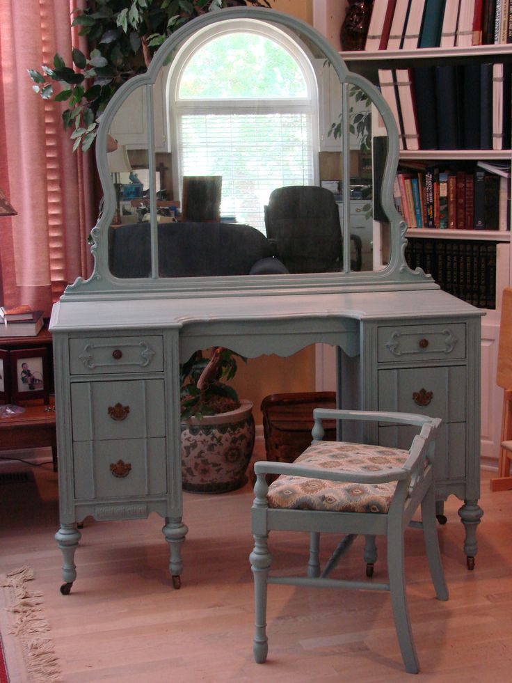 Vanity Mirror Chair Painted With Ascp Duck Egg Blue Lightly Distressed And Waxed Also