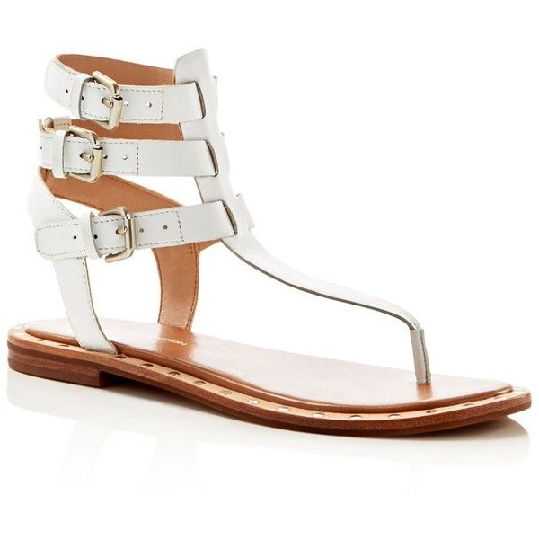 French Connection Imanna Triple Buckle T-Strap Sandals (490 PLN) ❤ liked on Polyvore featuring shoes, sandals, summer white, gladiator shoes, leather shoes, white leather sandals, white shoes and leather sandals