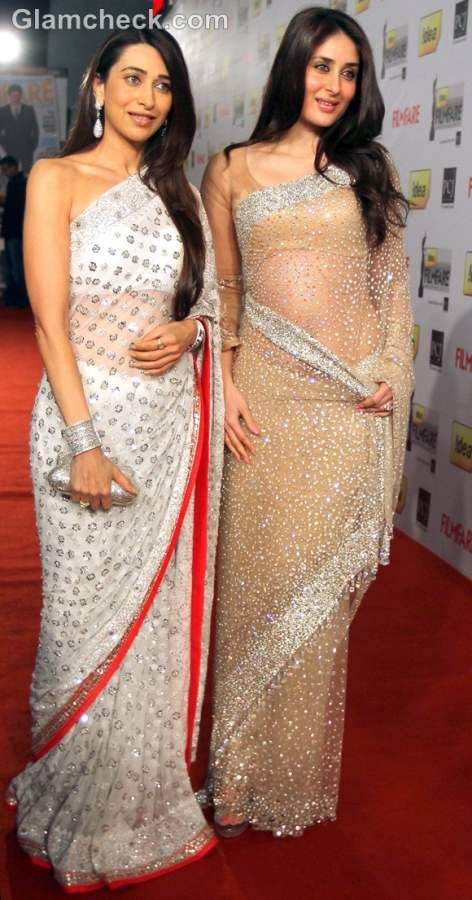 Glitter saree. Karishma and Kareena kapoor