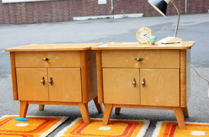 2 small chests of drawers, old side tables, bedside night table, cabinets, wood wooden, furniture Germany, Mid Century 50s 60s, vintage, by wohnraumformer on Etsy https://www.etsy.com/listing/209312096/2-small-chests-of-drawers-old-side