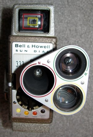 Bell and Howell Sun Dial 333 [vintage 8mm video camera] w/case, instructions and sunometer.  $89.95