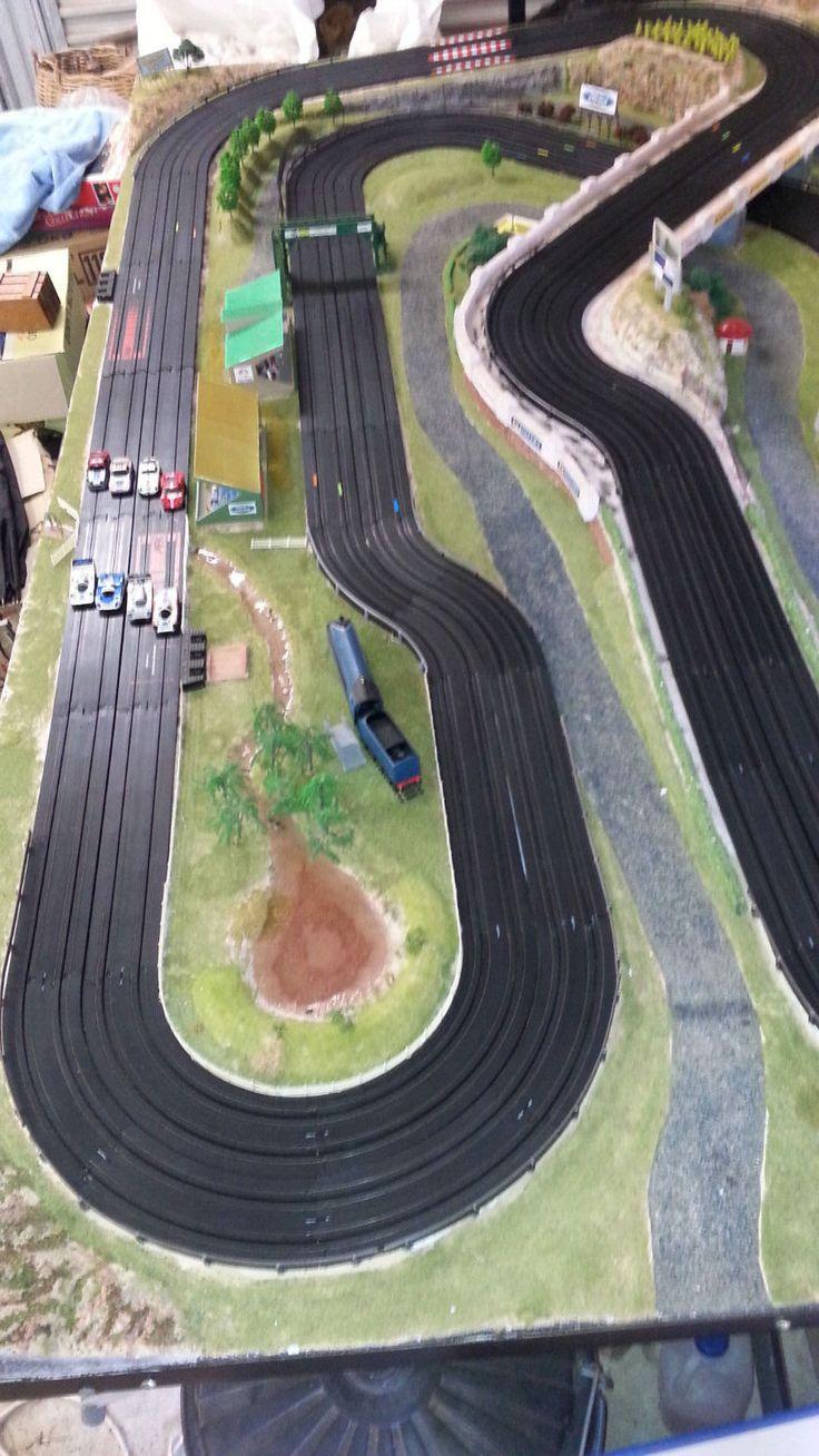 Exciting 4 Lane AFX Slot Car Layout Fully Landscaped | eBay
