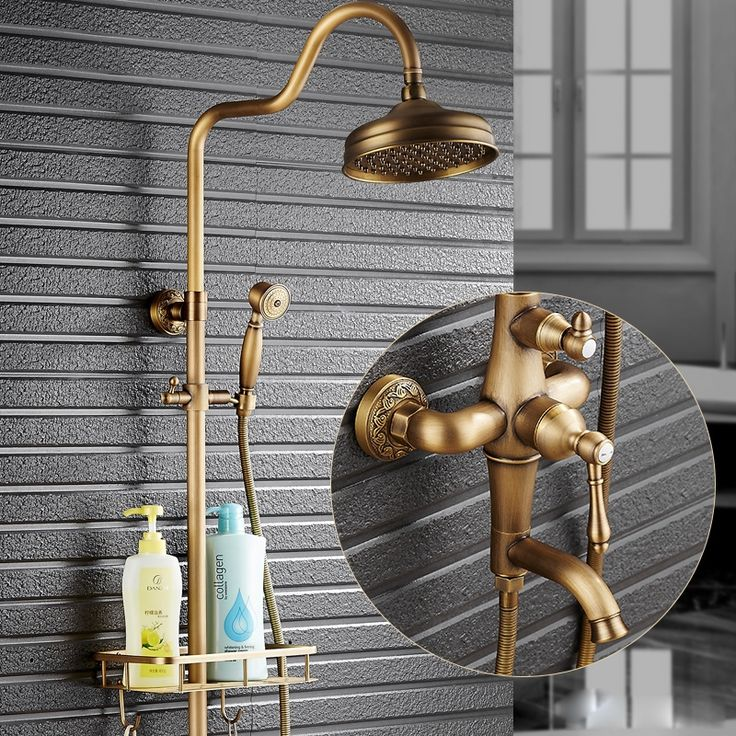 "172.02$  Watch here - http://alidhx.worldwells.pw/go.php?t=32721144113 - ""Luxury Rain 8"""" Brass Shower Faucets Antique Style Tub Shower Faucet with Basket Commodity Shelf + Hand Shower"" 172.02$"