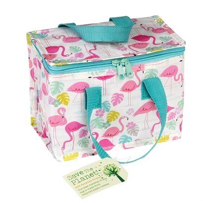 Lunch bag με το αγαπημενο μας τύπωμα Flamingo! Διαθετει εσωτερική επένδυση αλουμινίου για να διατηρεί την θερμοκρασία του φαγητού. Διπλώνει εύκολα για γρήγορη αποθήκευση.Κατασκευασμένο 100% απο πλαστικά μπουκάλια. Διαστάσεις: 13x21x16cm