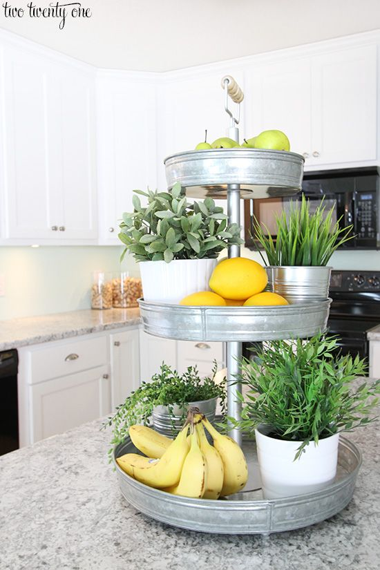 Love this three tiered stand! Cute home decor idea!
