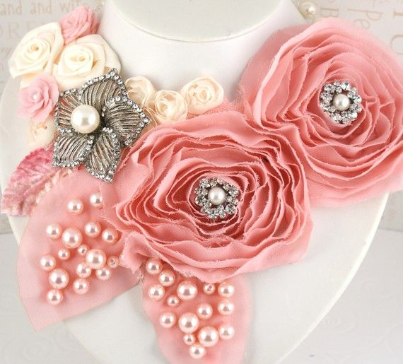 Bridal Statement Bib Necklace in Blush Pink and Cream with Satin Flowers, Czech…