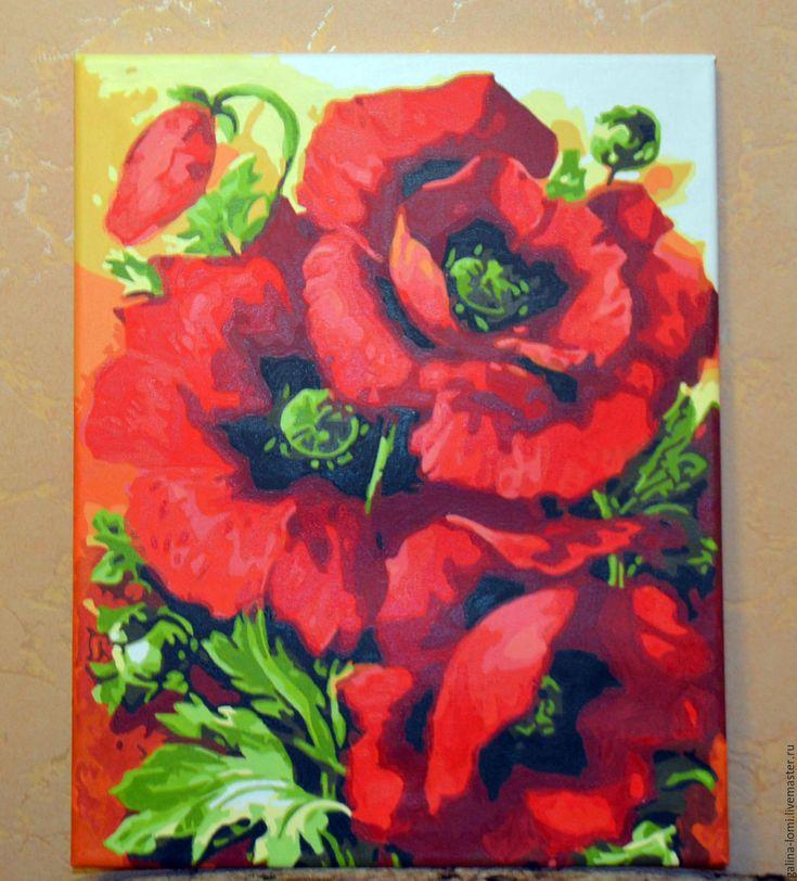 Купить или заказать Картина акрилом красные маки в интернет-магазине на Ярмарке Мастеров. пейзаж красные маки отличаются своей яркостью цвета смотря на эту картину в душе расцветает весна эти яркие маки дарят вдохновенье веру и любовь, притягивают своей волшебной силой картина красные маки украсят любую комнату или кабинет.
