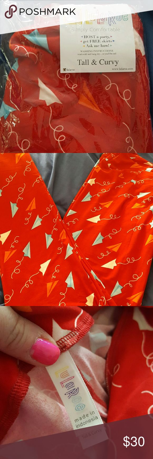 NWT TC Americana Paper Airplane Legginga Adorable red leggings with baby blue and white paper airplanes. From the Americana capsule collection. LuLaRoe Pants Leggings