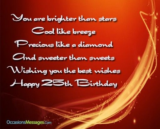 Happy 25th Birthday Wishes