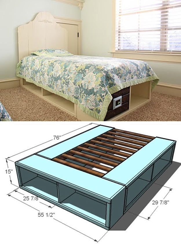 Twin Storage Bed | Creative Pieces Of Wood For A New Bedroom With A Storage by DIY Ready at http://diyready.com/14-diy-platform-beds/