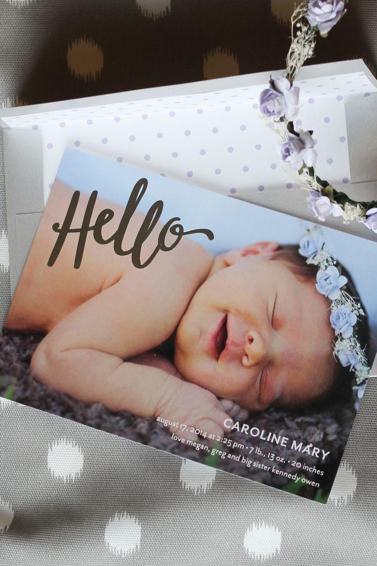 Beautiful birth announcements! Silver foil, polka dots. So pretty.