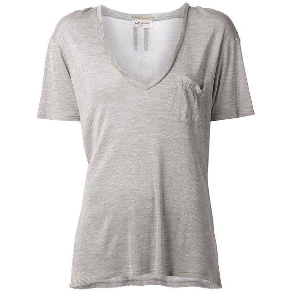 Saint Laurent Basic T-Shirt ($402) ❤ liked on Polyvore featuring tops, t-shirts, shirts, grey, grey t shirt, grey v neck t shirt, silk shirt, v neck t shirts e short sleeve tee