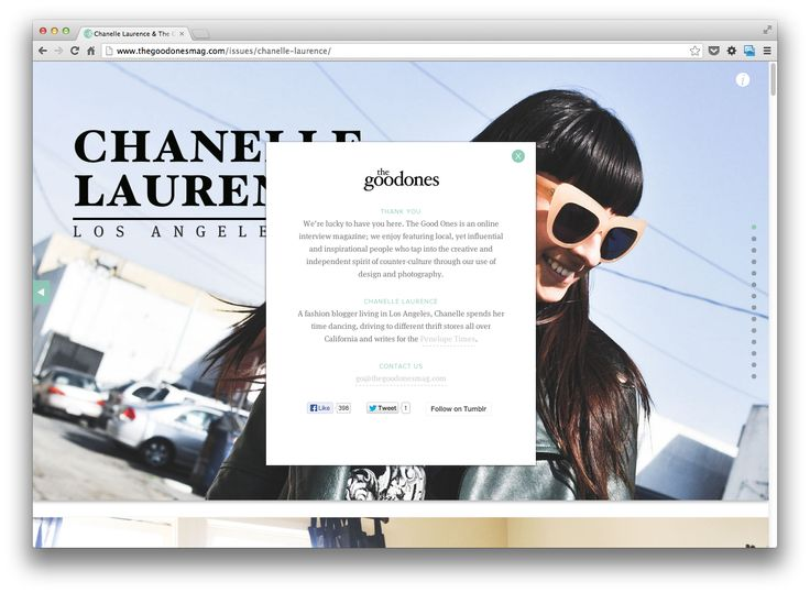 Nice online magazine (one-pager) http://www.thegoodonesmag.com/issues/chanelle-laurence/