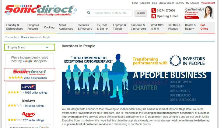 Sonic Megastore - a people business is accredited as an Investor in People