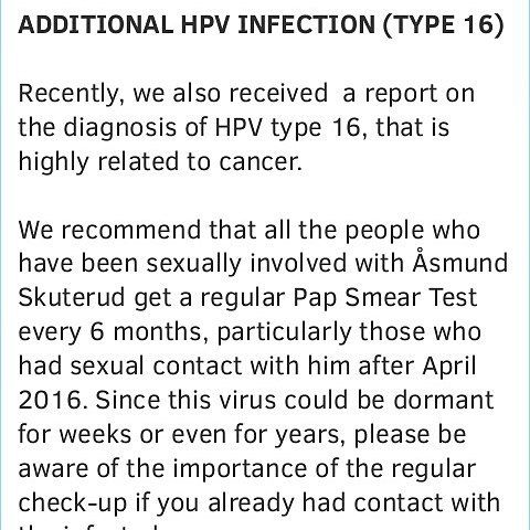Additional report of HPV diagnosis from our reader. For more details, please visit our blog.    #koèju #koeju #koejuvictims #asmund #asmundskuterud #åsmundskuterud #abuse #relationship #victims #hpv