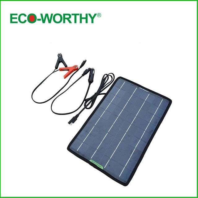 Eco Worthy 12 Volts 10 Watts Portable Power Solar Panel Battery Charger Backup For Car Boat With Al Solar Panels Portable Solar Panels Solar Panel Installation