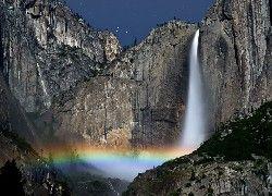 Skaliste, Góry, Wodospad, Tęcza
