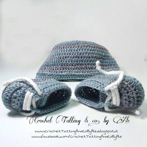 Scarpine babbucce da ginnastica a uncinetto e cuffietta neonato in misto lana//taglia 6-9 mesi~ by CrocherTattingByAle #italiasmartteam #etsy