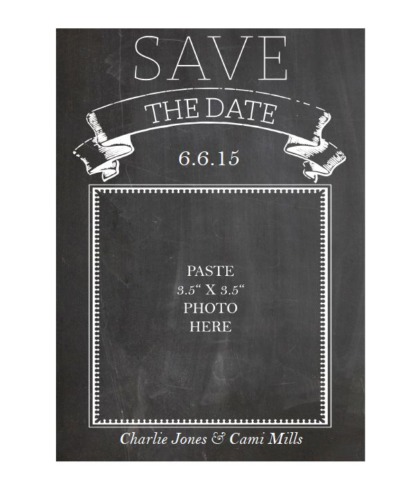 Free printable chalkboard save the date cards printable for Save the date templates free download