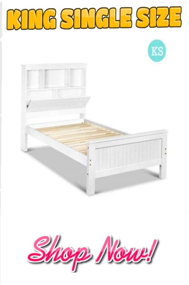 King Single Wooden Bedframe with Storage Shelf - White  Featuring an exclusive classic design, this Belmore wooden bed frame will bring a new retro style to your home. Quality constructed, it is built with quality timber slats, solid pine wood and smooth finish edges. It is also finished with safe and eco-friendly materials, just perfect for your family, Visit our website NOW  for more info!!!