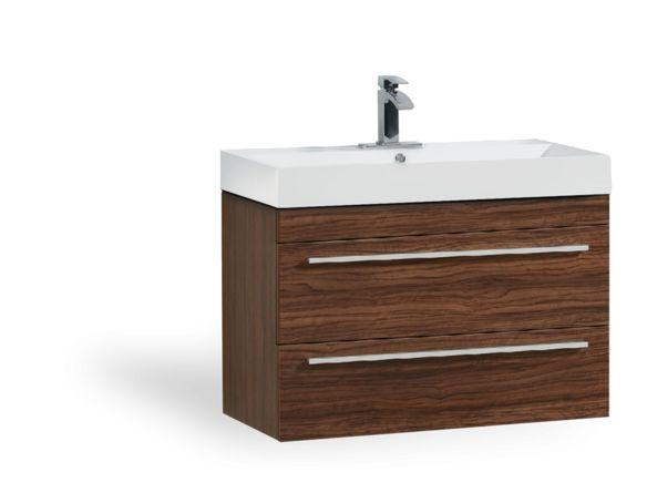 Meuble lavabo suspendu 36 39 39 au fini noyer fonc vanit - Meuble lavabo suspendu ...
