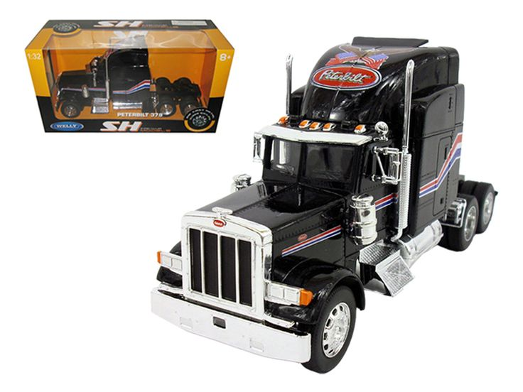 Peterbilt 379 Cab Black 1/32 Diecast Model by Welly - Brand new 1:32 scale diecast car model of Peterbilt 379 Cab Black die cast car model by Welly. Brand new box. Rubber tires. Has opening doors. Detailed interior, exterior. Made of diecast with some plastic parts. Dimensions approximately L-10, W-4.5, H-3 inches. Please note that manufacturer may change packing box at anytime. Product will stay exactly the same.-Weight: 3. Height: 8. Width: 15. Box Weight: 3. Box Width: 15. Box Height: 8…