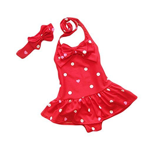 d82b2f89f5 Yober Baby Toddler Girls One Piece Swimsuit Bowknot Polka Dot Bathing Suit  Swimwear with Headbands