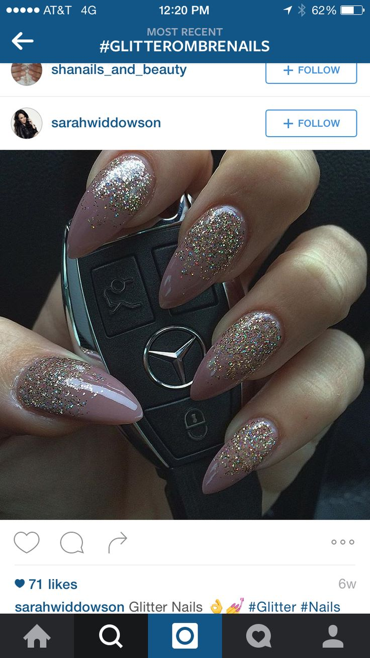 Almond glitter ombre nails