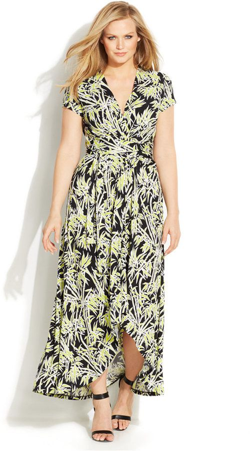 Plus Size Bamboo-Print Faux-Wrap Dress