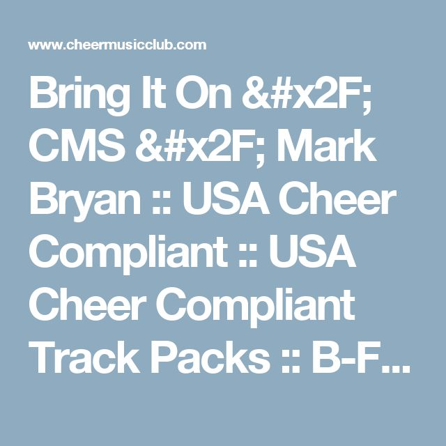 Bring It On / CMS / Mark Bryan :: USA Cheer Compliant :: USA Cheer Compliant Track Packs :: B-Fresh ft CrimsonMuzik - Banners, Rings & Trophies - 5 Track Pack - Cheer Music Club