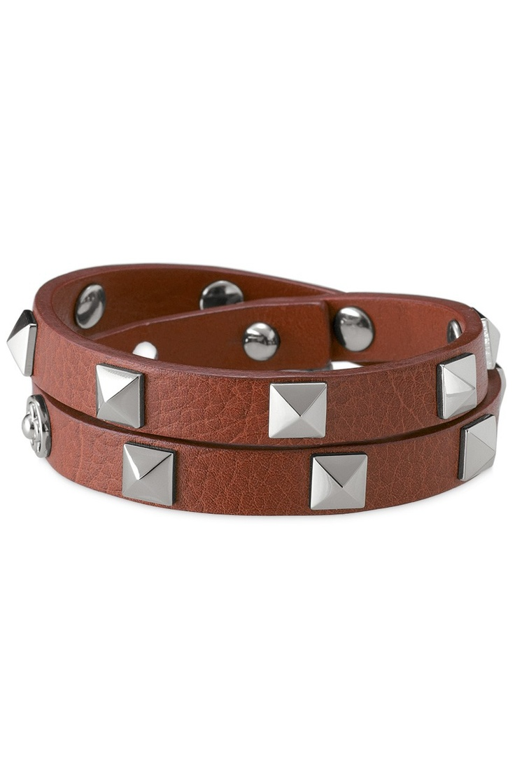 And here's the Pyramid double Wrap Italian leather bracelet in Cognac. Just
