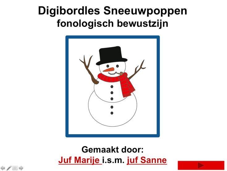 Digibordles sneeuwpop (fonologisch bewustzijn)