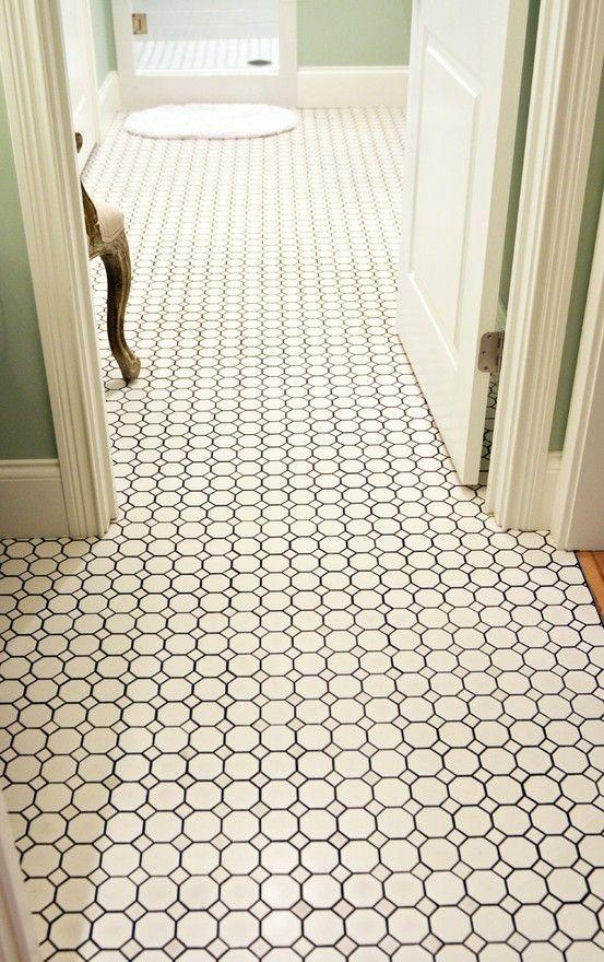 Black And White Octagon Bathroom Tile 1 Bathroom Remodel