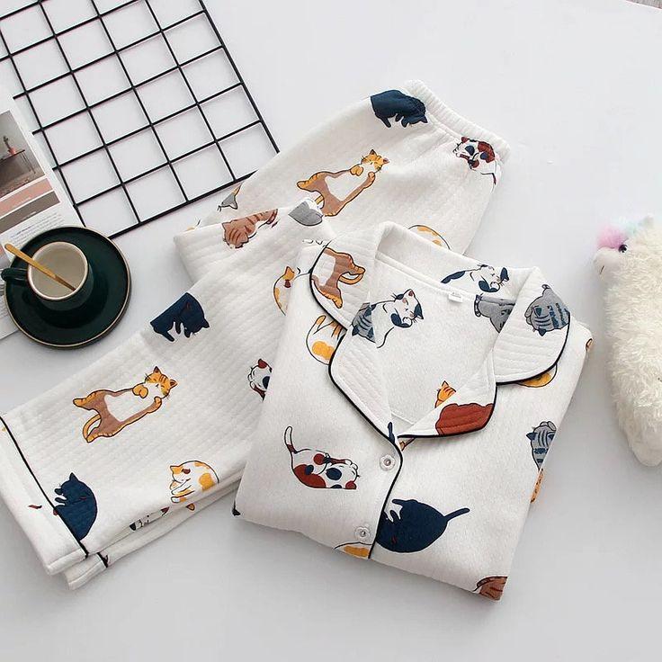 2PCS Women Cat Pajamas Shorts Teddy Bear Fleece Warm Lounge Sleepwear Pajamas