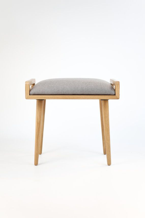 Stool / Seat / stool / Ottoman / bench made of solid oak table, oak legs, upholstered in grey linen fabric