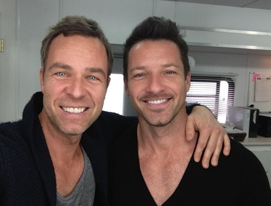 JR Bourne (Chris argent) and Ian Bohen (Peter hale) on Teen Wolf set which happened to be JR's birthday. April 8th. (: they are soo damn hot!!