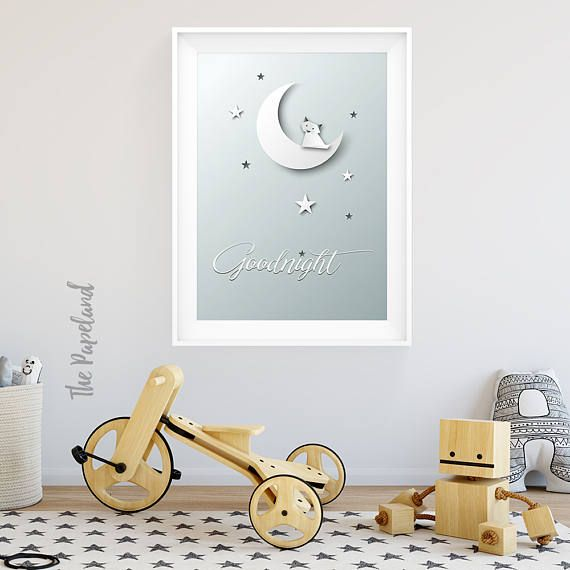 Nursery poster Moon and Goodnight...  Ordering this printable poster is easy...  -----------------------------------------------------------------------------------------------------------------------------  This listing is for the poster pictured above in PDF and JPG format in the following sizes: ✱ 16x24 inches  40x60 cm ✱ 8x10 inches  20x25 cm ✱ 6x8 inches  15x20 cm ISO (International Standard Size) ✱ A4 (21x29,7cm)…