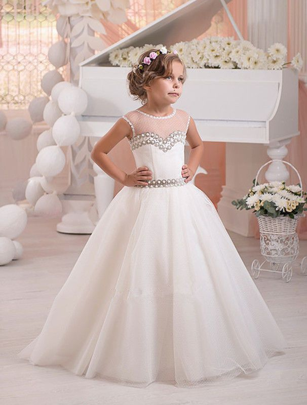 Full Length Rhinestone Flower Girl Dresses with Little Train Back Lace-up Holy Communion Dresses for Girls Girl Pageant Gown Kids Prom Dresses Evening Gown Girl Dress