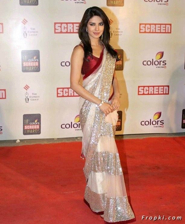 Priyanka Chopra dazzled in this magnificent Ivory Bright Net Saree in screen awards 2012.