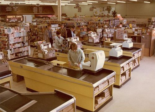 Northland Foods '70s Interior by afiler, via Flickr - Remember paper bags for everything.