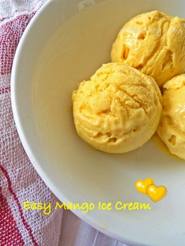 Easy Mango Ice Cream: mangoes, milk, condensed milk and cream
