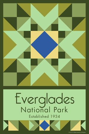 Everglades National Park Quilt Block designed by Susan Davis. Susan is the owner of Olde America Antiques and American Quilt Blocks She has created unique quilt block designs to celebrate the National Park Service Centennial in 2016. These are the first quilt blocks designed specifically for America's national parks and are new to the quilting hobby.