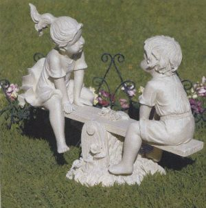 Boy And Girl Lawn Statues Lawn Ornament Solid Polyresin