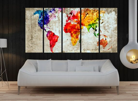 large abstract wall art, watercolor world Map wall art print, Large world map wall art canvas, fine art print Living room and decor, 7s85