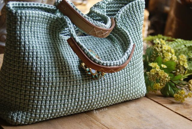 Crochet Blue Rope Bag